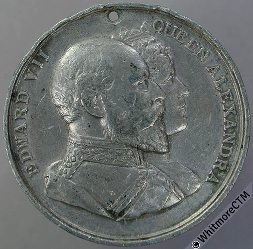 1902 Edward VII Coronation Medal 38mm B3849 white metal.