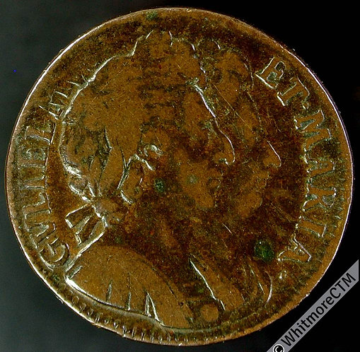 1694 British Copper Farthing William and Mary