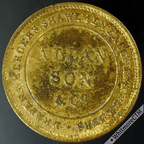 London Token 25mm Allan Son & Co.  Drapers etc. St. Paul's dome. Gilt brass