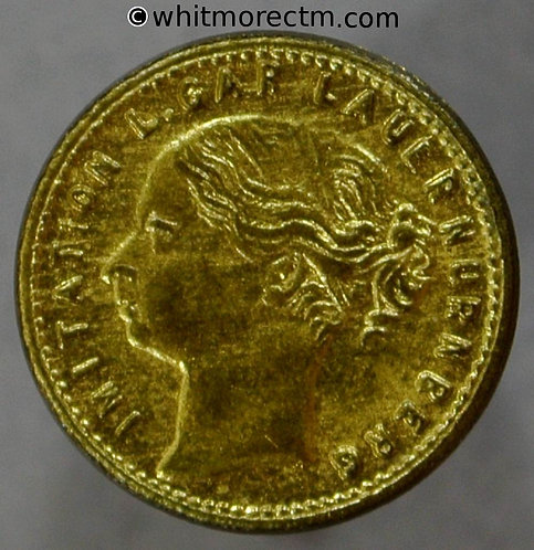 Toy Coin. False Lauer Young Head Sixpence 430b 13mm - Gilt Brass