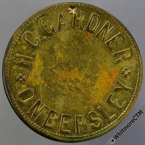 Ombersley Misc Token 25mm H.C.Gardner - Uniface gilt brass - Obverse dig