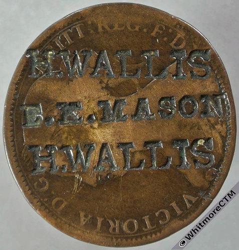 Countermarked Victoria Young Head Bronze Penny. H.WALLIS (twice) E.K.MASON