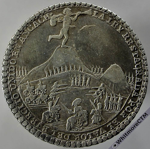 1839 Peru Battle of Ancach - Armies in mountain engagement Medal obv 33mm Silver