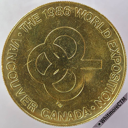 1986 Canada Vancouver World Exposition Medal 39mm Gilt Bronze