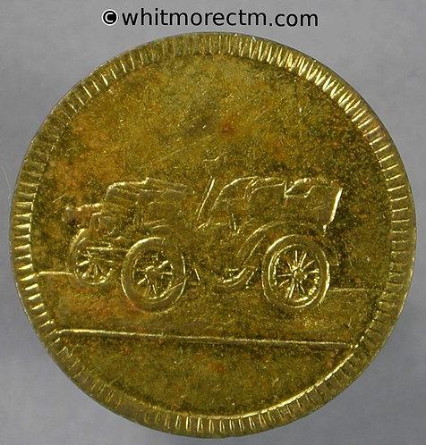 Jetton - Model coin - 19mm Veteran motorcar / Fortuna wings scales Gilt Brass