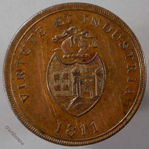19th Century Penny Bristol 436 1811 Virtute et Industria Arms B. B. & Copper Co - obv
