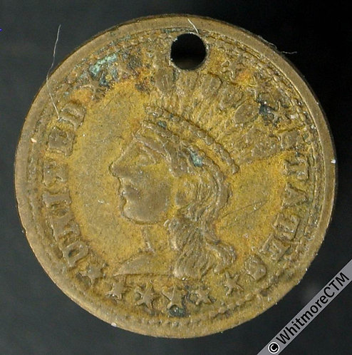 USA Model / Toy coin 15mm Female in Head-dress July 1868 - Brass