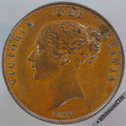 1854 Victoria Young Head Copper Penny 4 over 3