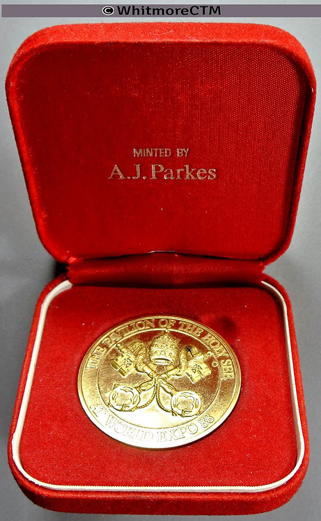 1988 Australia / Papal Pavilion of Holy See at World Expo Medal 40mm Gilt bronze cased