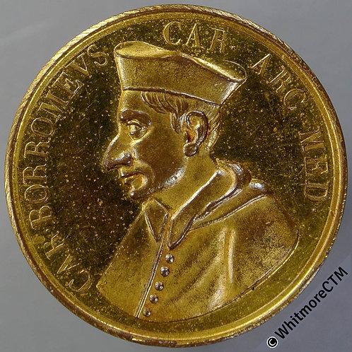 Italy Cardinal Borromeus Archbishop of Milan Medal 32mm cathedral. Gilt bronze