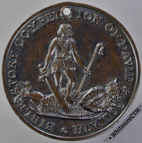 Christian Herald story competition Medal 31mm David and Goliath. Bronze. 1900s