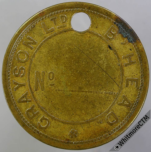 Birkenhead Tool / Pay check token 38mm Grason Ltd Not in Edge but see p65. Brass