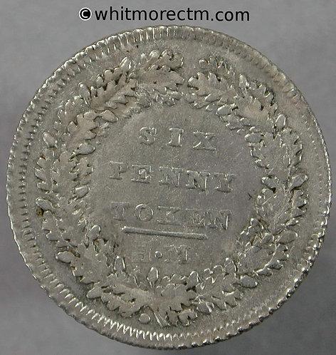 19th C Silver Sixpence London 38 Licenced Silver Token Morgan maker - Rare