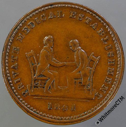 """Unofficial Farthing Glasgow 7400 1841 Dr.Stuart & patient without """"Honour"""" Rare"""