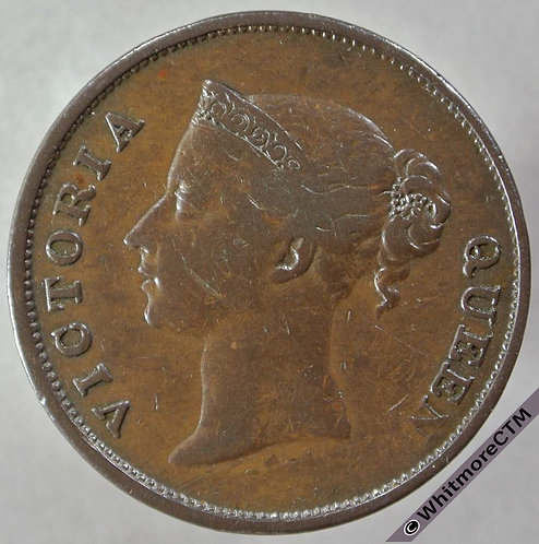 1845 Straits Settlements 1 Cent obv - Queen Victoria British Crown Colony