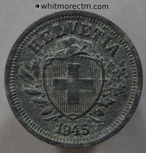 1945 Switzerland Rappen One Centime coin Y18a - Zinc