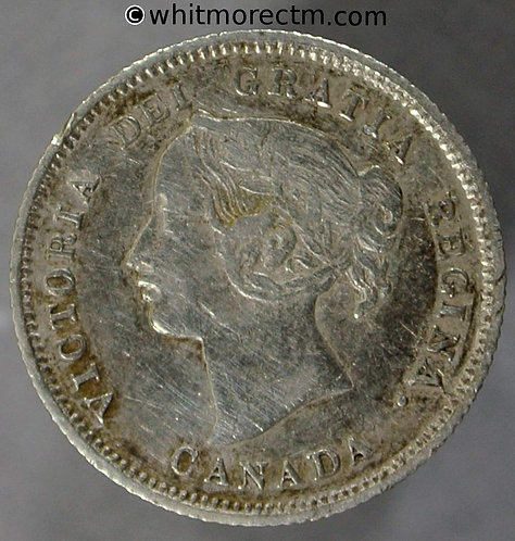 1870 Canada Five Cent coin Flat Rim - Victoria