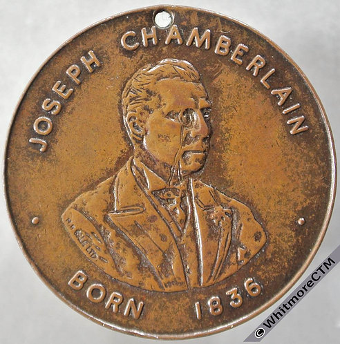 1936 Centenary of birth of Joseph Chamberlain Medal obv 31mm Bronze pierced