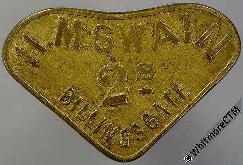 Market Token Billingsgate H.M.Swain 2s 43x28mm Irregular triangle brass