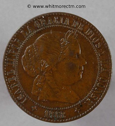1868 Spain Y38 2½ Centimos coin Jubia