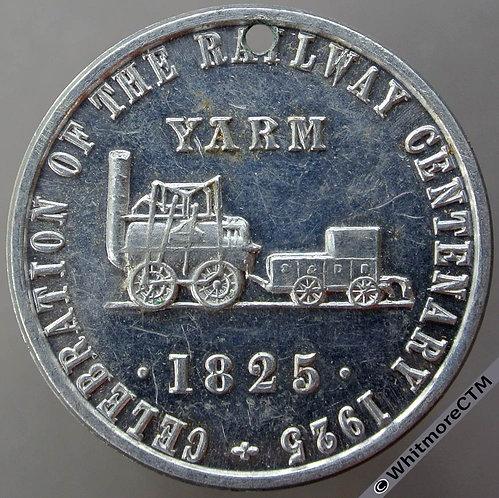 Yarm (Yorks) 1925 Railway Centenary Celebration Medal 33mm Uniface Aluminium