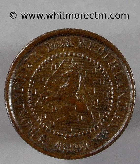 1891 Netherlands ½ Cent Y1 - 20% Luster