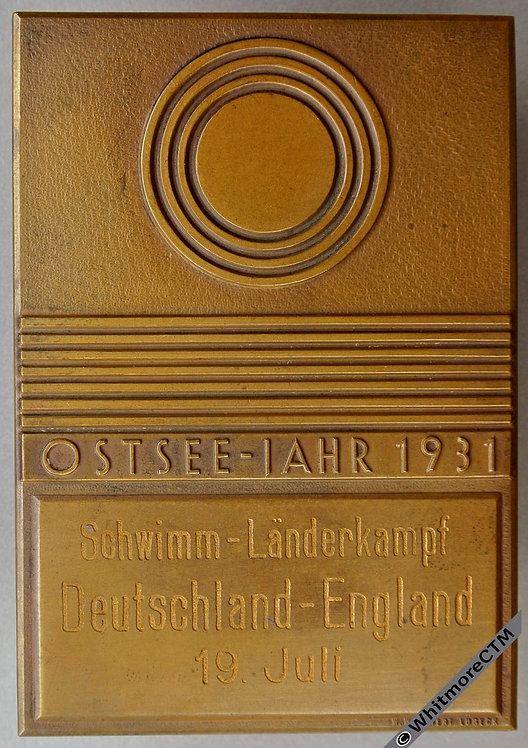 Germany / England 1931 Baltic Sea Swimming Competition Plaque 63x91mm Bronze