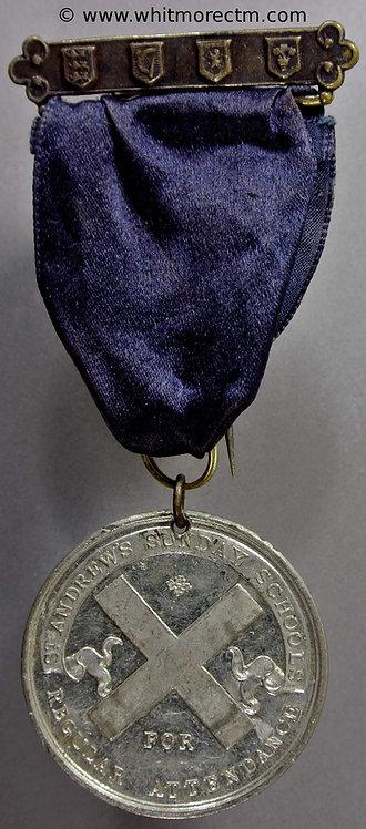 St. Andrews Sunday Schools regular attendance Medal 39mm Not in Dry. White metal