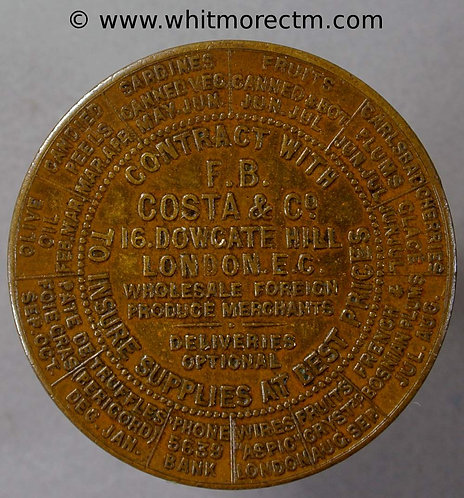 1900 Calendar Medal F.B.Costa & Co 16 Dowgate Hill London 32mm