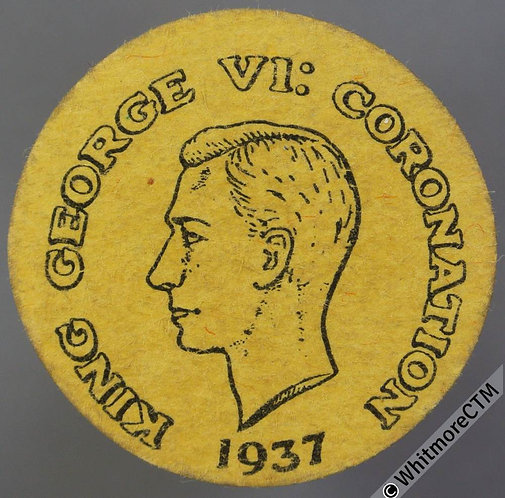 1937 Card Toy Coin Penny size - black on yellow. Evans 1476