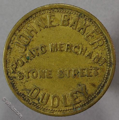 Market Token Dudley John E. Baker - Potato Merchant - Stone Street 1/- 28mm