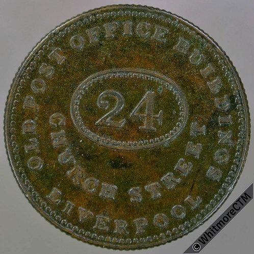 Unofficial Farthing Token Liverpool 2150 F.L.Hausburg. with plain 4. Gilt Bronze