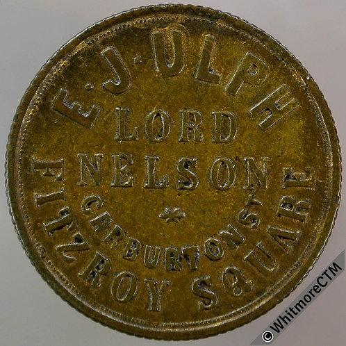 London Refreshment Lord Nelson Carburton St Token 24mm H291b E.J.Ulph / 4D