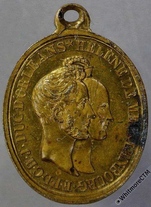 1837 France Marriage Duc D'Orleans Helene De Mecklenbourg Medal 27x20mm Gilt