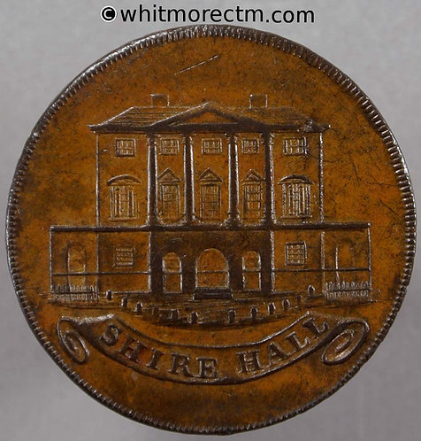 18th Century Halfpenny Chelmsford 5 Shire Hall. King Constitution Clachar's edge