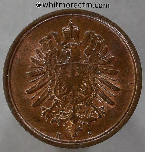 1875B Germany One Pfennig coin Y1 20% Luster - obv
