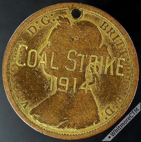 "Engraved Coin ""Coal Strike 1914"" on Gilt 1887 Half Penny"