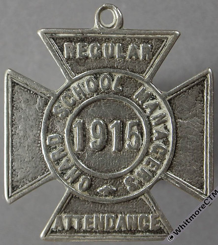 Chard 1915 School Managers Medal D361 27mm Silver cross with suspender