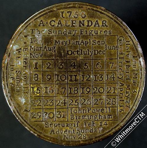 Calendar 1756 John Powell Birmingham - 41mm Copper