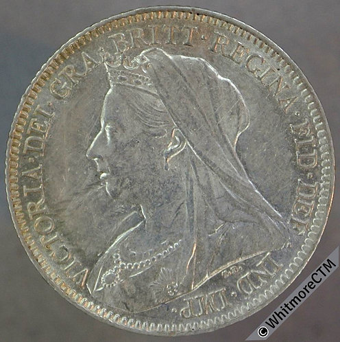 1900 Victoria Veiled Head Sixpence