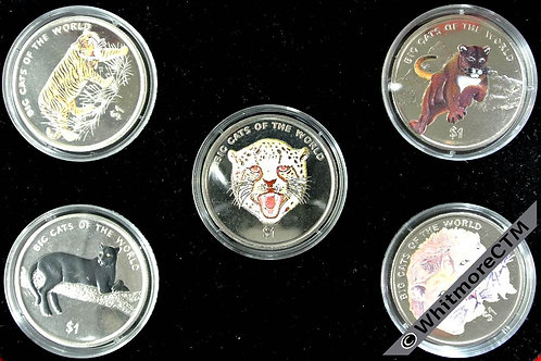 Sierra Leone 2001 Big Cats of the World 5 $1 coloured coins Cased - Pobjoy mint