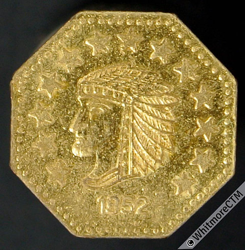 USA Model / Toy coin 12mm 1852 Indian Head / California Gold 1/2 - Rogers 2477