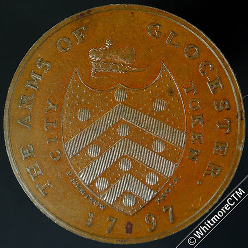 18th Century Penny Gloucester 1 1797 Kempson - City arms/ Cathedral. Proof-like