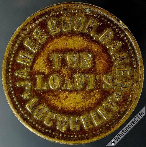 Bonus Token Lochgelly fife 24mm James Cock Baker. Ten Loaves / 10 - Brass