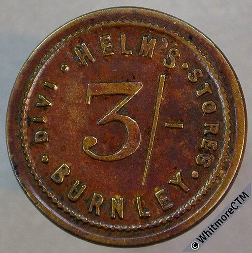 Bonus Token Burnley (Lancs) 20mm 3/- Helms Divi Stores - both sides.