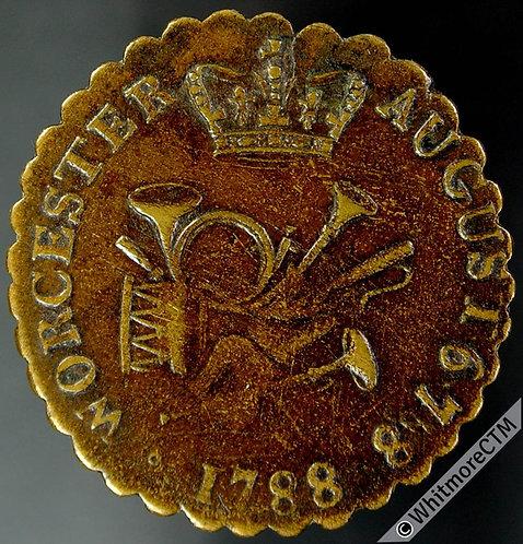 18th Century Halfpenny Token Worcester 40 1788 George III. Musical instruments
