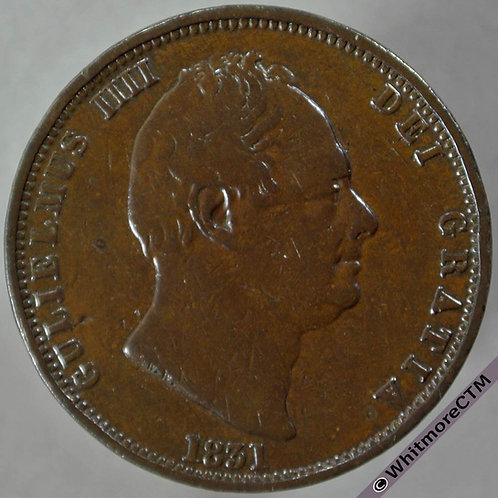 1831 British Copper Halfpenny - William IV