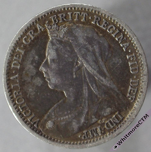 1899 British silver Threepence - Victoria Veiled Head