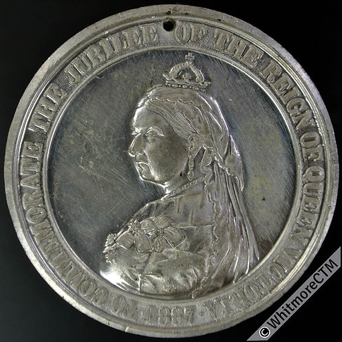 1887 Queen Victoria Jubilee Medal 41mm B3272 By Ottley. White metal.