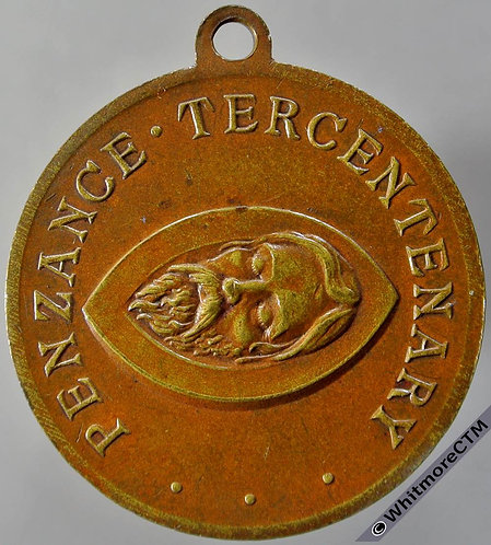 Penzance 1914 Tercentenary Medal 32mm Head of John the Baptist Bronze. suspender